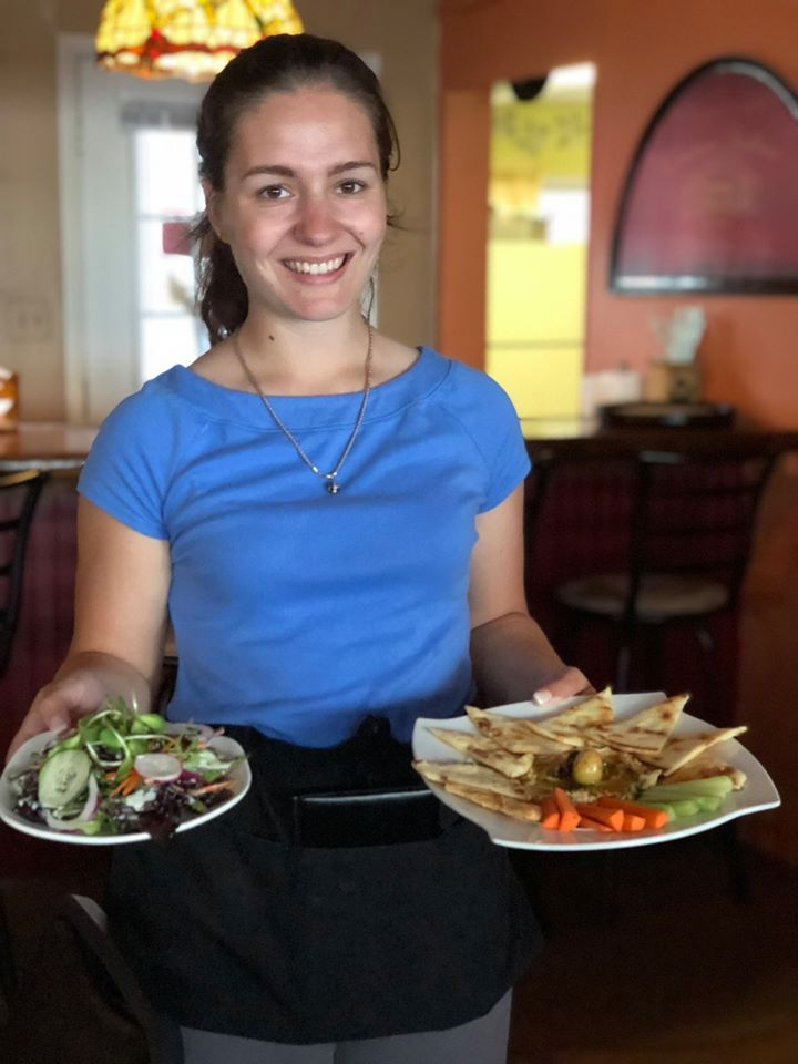 waitress with food